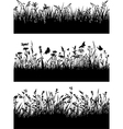 Flowery meadow silhouettes wallpaper vector image