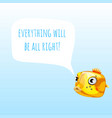 funny poster with marine yellow boxfish vector image