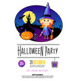 halloween party design template with witch girl vector image vector image