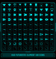 hud fututistic collection icons element set green vector image vector image