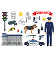 icons of policeman occupation and police vector image vector image