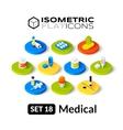 Isometric flat icons set 18 vector image