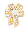 jewel brooch bow gold with precious stones vector image vector image