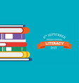 literacy day design of education books for kids vector image vector image