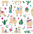 llama and cactus pattern cute seamless hand drawn vector image vector image