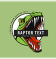 logo with a raptor on a green background vector image vector image