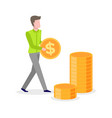 man carrying golden coin in hands with dollar sign vector image