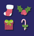 merry christmas stocking gift candy cane vector image vector image