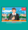 news announcer in studio vector image vector image