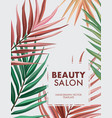 palm plant leaves design beauty salon and spa vector image vector image