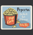 popcorn fastfood snack retro poster vector image