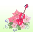 Red Violin and Poinsettia vector image