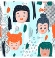 seamless pattern with funny girl faces vector image vector image