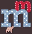 set stitched font - letter m vector image vector image