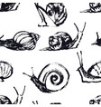 snails hand drawing seamless pattern vector image vector image