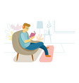 stay at home man sitting on sofa listening music vector image