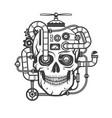 steampunk cyborg skull vector image vector image