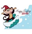 Surfing New Year Monkey Holiday Greeting vector image vector image