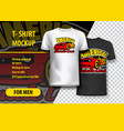 t-shirt mockup with american muscle cars phrase vector image