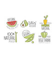 vegan healthy food labels set natural raw vector image