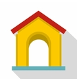 Yellow toy house icon flat style vector image vector image