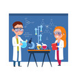 young chemists children put chemical experiments vector image vector image