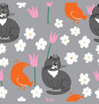 grey cat and orange bird with flowers vector image