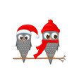 two owls on the branch in the santa claus hat and vector image