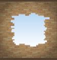 break in the brick wall vector image