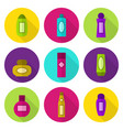 cosmetic bottles flat icon set vector image