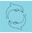 dolphin icon blue outline style isolated vector image