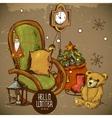 Hand-drawn New Year and Christmas Greeting Card vector image