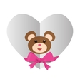 heart with teddy bear and bow icon image vector image