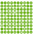 100 keys icons hexagon green vector image vector image