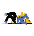 apathetic young man lying on soil vector image vector image