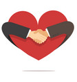 businessman hand shaking hand with heart vector image vector image
