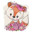 cartoon fox with flowerson a white background vector image vector image
