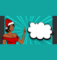 christmas pop art black sexy woman smile vector image vector image