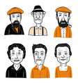 collection of diverse hand drawn faces vector image vector image