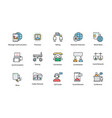 colored network and communication icons vector image vector image