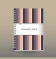 cover of diary or notebook retro striped vector image vector image