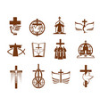cross bible dove and priest religion icons vector image vector image
