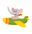 cute funny elephant pilot character flying on vector image vector image
