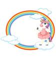 cute unicorn on sky banner vector image vector image