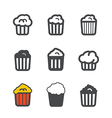 Different popcorn icons set vector image vector image