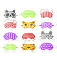 different sleep masks flat vector image vector image