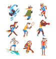 dog doing various kinds sports set animals vector image