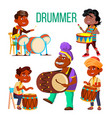 drummers using ethnic percussion characters vector image