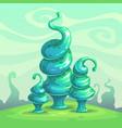 fantasy glossy blue mushrooms alien nature vector image