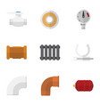 flat icon sanitary set of conduit roll plastic vector image